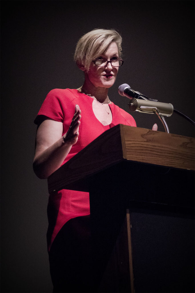 Adele LaTourette, Director of Hunger Free New Jersey, addresses a crowd about hunger relief.
